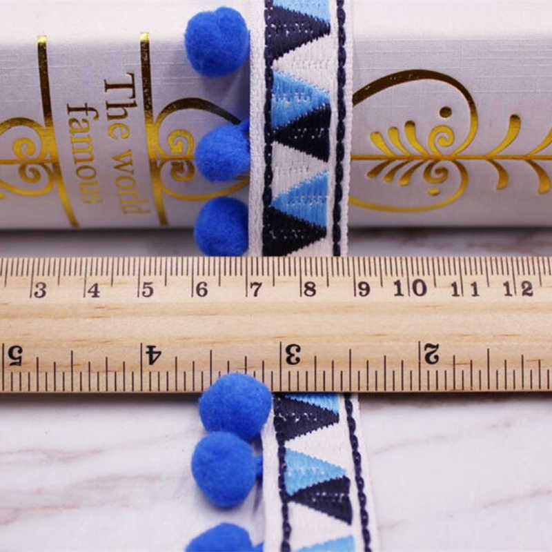 Tira de pompones Trim cintas de bola pompón cinta de flecos de encaje hecho a mano costura tejido Material Ropa Accesorios para manualidades 1 yardas