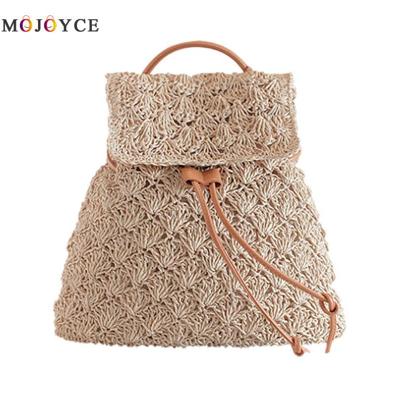 Retro Women Hollow Out Straw Weave Backpack Girl Croch Knitted Drawstring Boho Beach Shoulder Bag Travel Mochila Feminina