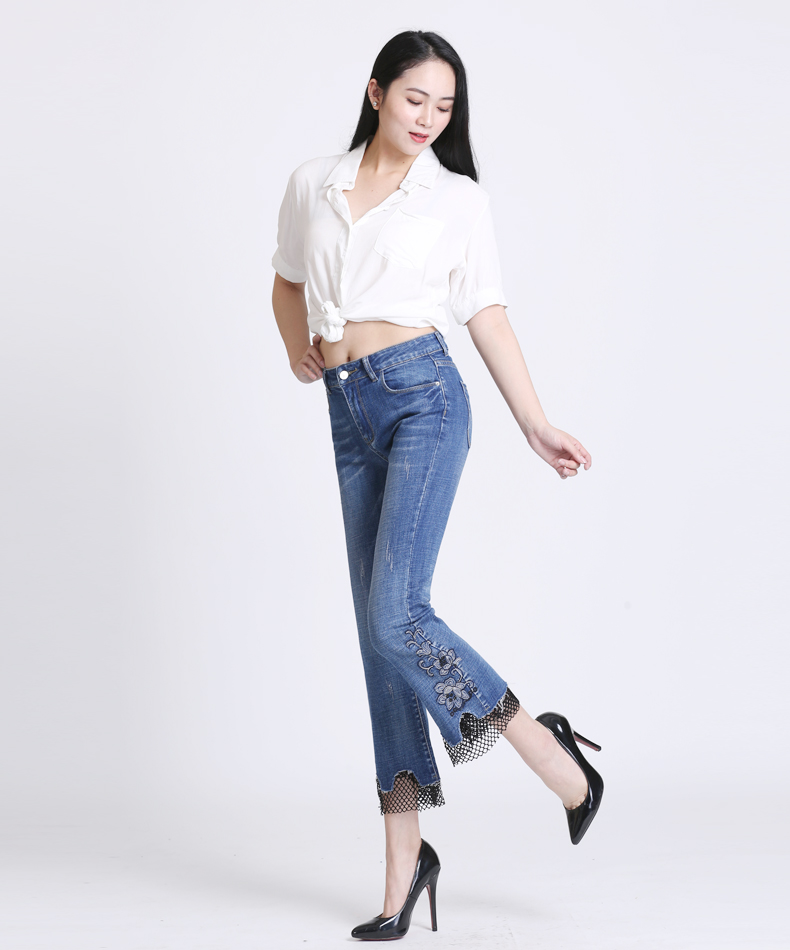 KSTUN jeans trousers for women high waist slim fit flared pants embroidery floral bell bottoms lace net pantacourt homme large 15