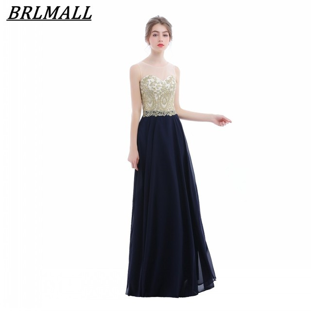 BRLMALL Hot Sale Navy Blue Gold Lace Appliques Prom Dress Sleeveless ...