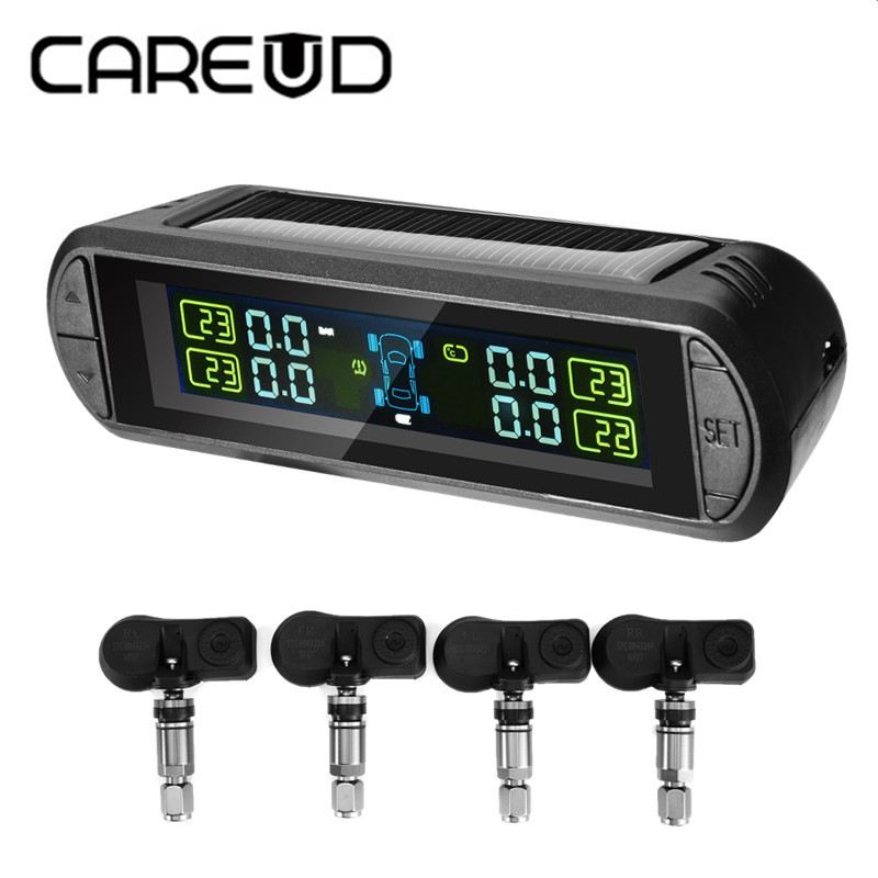 CAREUD TPMS Car Wireless Tire Pressure Monitoring System LCD Display with 4 Internal Sensors for Peugeot Toyota and All Cars цены онлайн