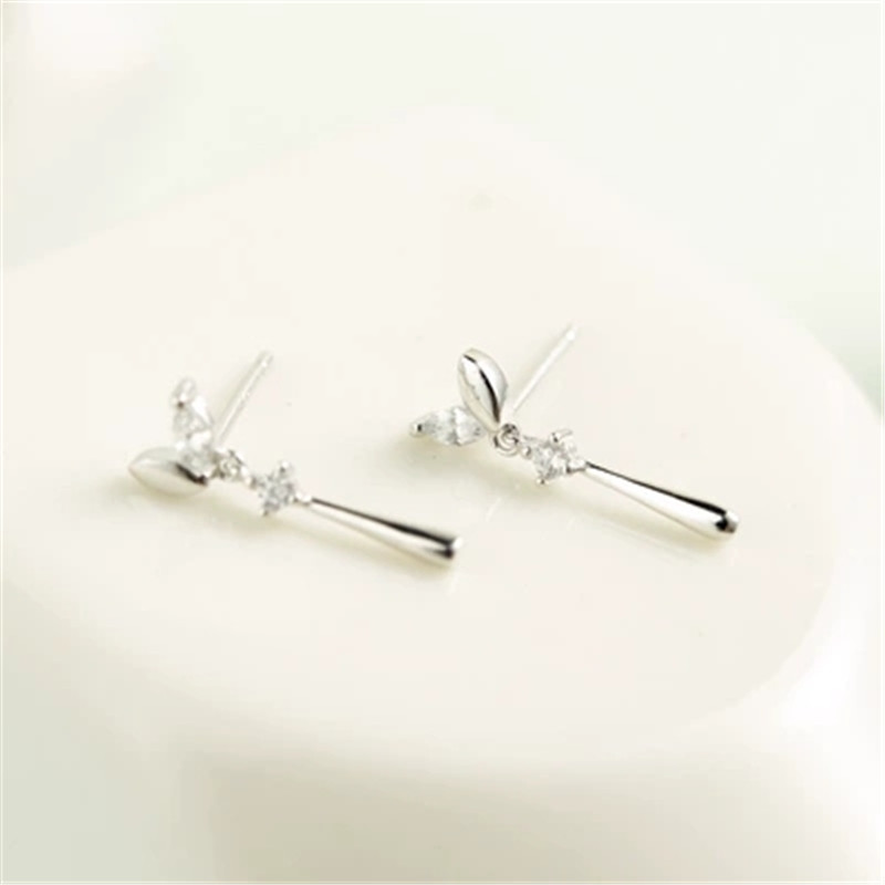 925 Sterling silver Stud earrings Two color long leaves Set auger Wholesale women 39 s fashion jewelry in Stud Earrings from Jewelry amp Accessories