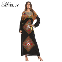 MISSJOY Islamic clothing Fashion Muslim womens Full sleeve O Neck Printed Turkish Morocco kaftan abaya Black dubai Long dress
