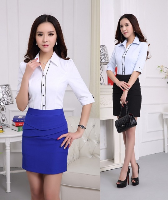 25d08246f18a New Formal Uniform Design Female Work Suits With Blouse And Skirt 2015  Summer Office Ladies Outfits Blouses Sets Plus Size 4XL