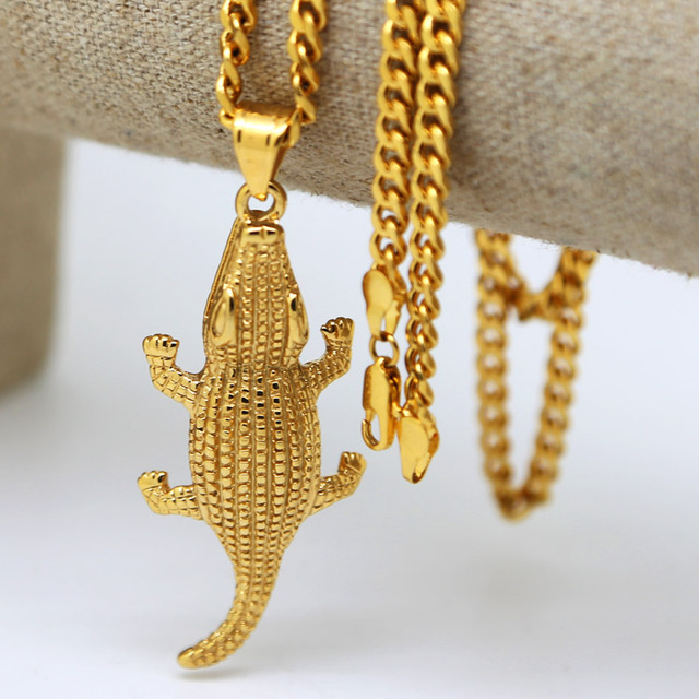 High end Gold color 3D Alligator Charm Pendant Necklace and 5mm 275