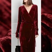 Limited hot sale 2016 autumn winter thicken fashion silk natural velvet fabric for dress pure tissu au meter bright cloth DIY