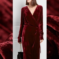 Limited hot sale 2016 autumn winter thicken fashion silk natural velvet fabric for dress pure tissu au meter bright cloth DIY