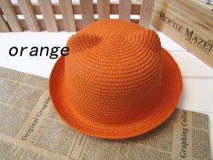 [DINGDNSHOW], модная соломенная шляпа, Летний стиль, для взрослых, украшение в виде ушей, прекрасная соломенная шляпа от солнца, одноцветная широкополая Панама для женщин - Цвет: orange adult