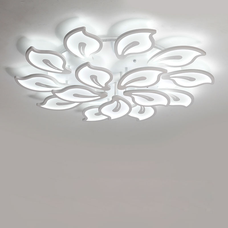 Acrylic White Led Lamp Modern Chandelier Lustre With Remote Control Living Room Kitchen Foyer Decor Home Lighting Fixtures 220V