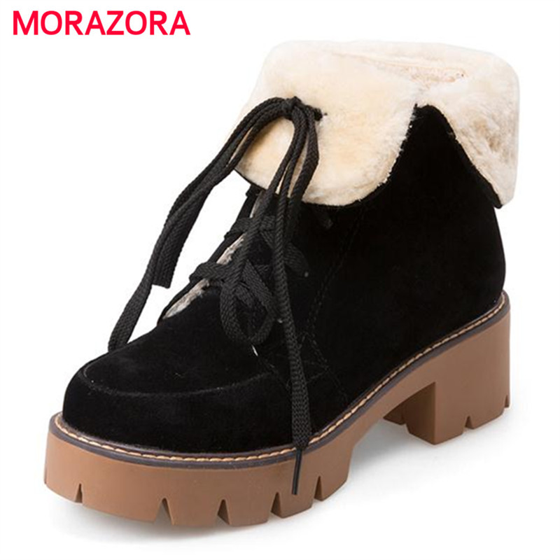 MORAZORA Winter platform boots woman PU nubuck leather round toe square heel ankle boots for women solid motorcycle boots winter 2014 british round solid leather thick follow with frosted leather ladies nubuck leather ankle boots
