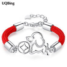 2018 New Fashion 925 Sterling Silver With Red Rope Dog Charms Bracelets For Women Bracelet Pulsera Drop Shipping
