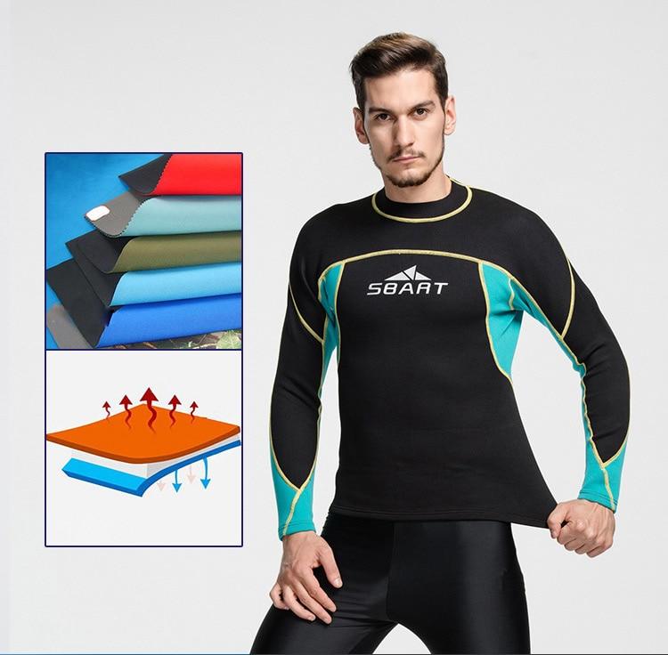2mm Mäns Neopren Wetsuit Jacka Swimming Shirt Tröja Långärmad Top - Sportkläder och accessoarer - Foto 5
