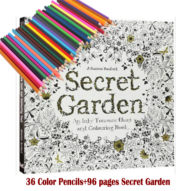36 Color Pencils+96 Pages English Secret Garden Coloring Books For Adult Hand-drawn Relieve Stress Graffiti Painting Libros