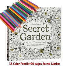 36 Color Pencils+96 pages English Secret Garden Coloring Books For Adult Hand-drawn Relieve Stress Graffiti Painting Libros все цены