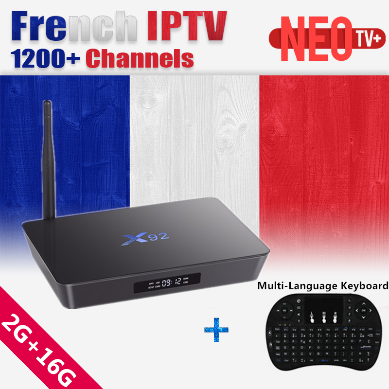 X92 NEO tv android tv box 16GB Rom Amlogic S912 Arabic Belgium IPTV French Live+VOD 1 Year iptv subscription IP TV smart tv Box neotv iptv subscription live tv 1800 channels french arabic europe spanish italian iptv neotv neo one year tx3 android tv box