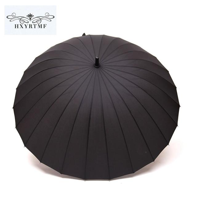 8564ed80c High Quality 24 Rib Solid Windproof Umbrella Long-Handle Sun/Rain Umbrella  Stick Outdoor Umbrella Manual Paraso Umbreon