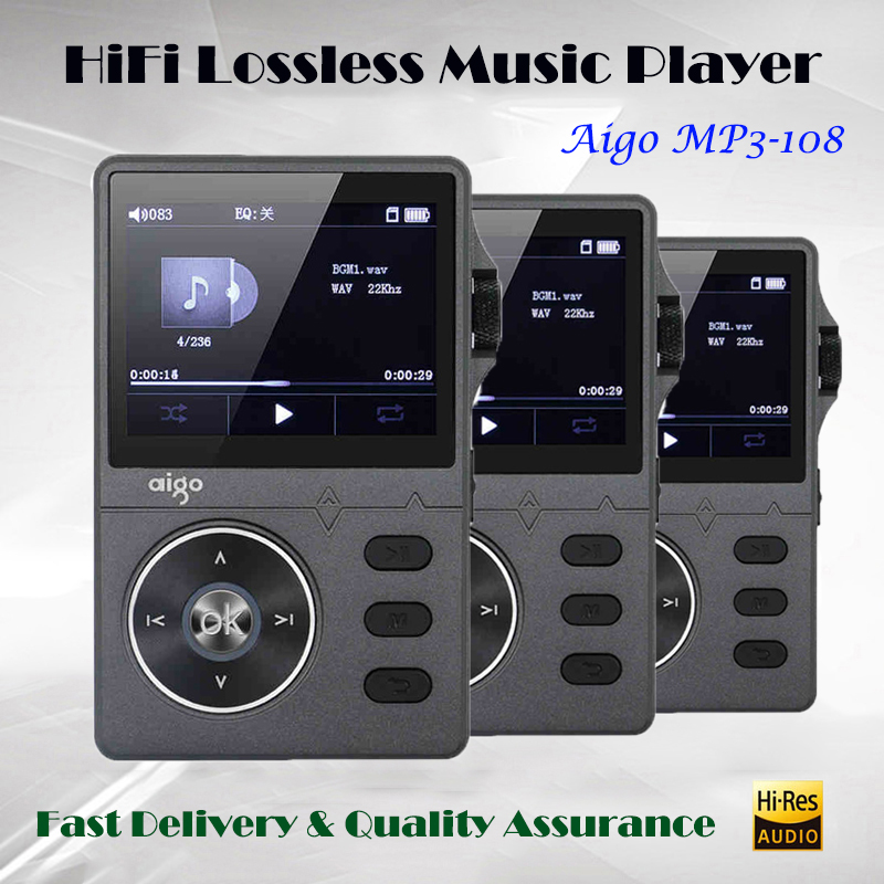 AIGO MP3-108 Hi fi Lossless Music Player Mp3 Dsd DAC Player Hifi Mp3 Player Audio Portable WM8740 Flac Player with Screen yawlooc 3d metal black s3 s4 s5 s6 s8 sline car tail sticker emblem badge logo car styling for audi q3 q5 q7 b5 b6 b8 c5 c6