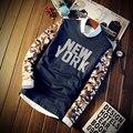 Футболка Мужчины Нью-Йорк печатных футболка С Длинным Рукавом Большой Apple Мода 2017 Весна мужская Марка o-образным вырезом Homme Тройники Высокого качество