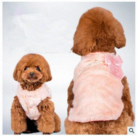 Autumn and winter breathable pet clothing pearl bow plush coat Teddy bear dog coat vest