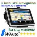 """5 """"Apical Carro gps bluetooth AV IN 256 M RAM e 8 GB de Memória Navegação GPS Sirf Altas VI 800MHZ-CPU Frete Rússia Europa Mapas Do Mundo"""