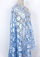 2018 November new design Plum flowers design fashion show dress lace fabric Sky blue Off white embroidered hollow out dress lace