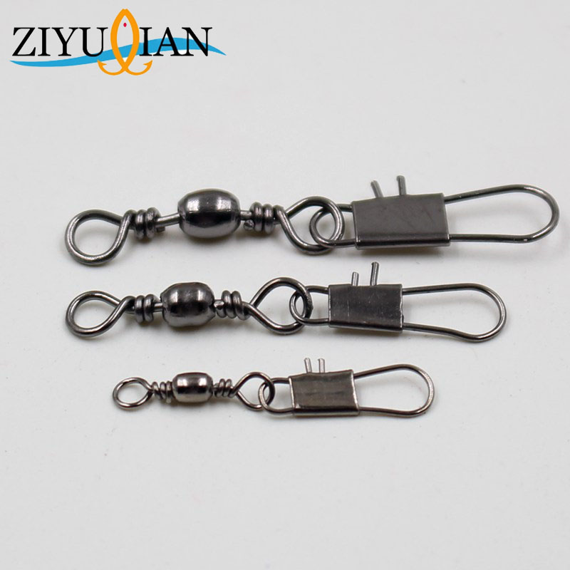 10pcs/lot Fishing Connector Rolling Swivel Stainless Steel Fishing Gear Accessories Connector Nice Snap Fishing Lure Tackles 3Pc(China)