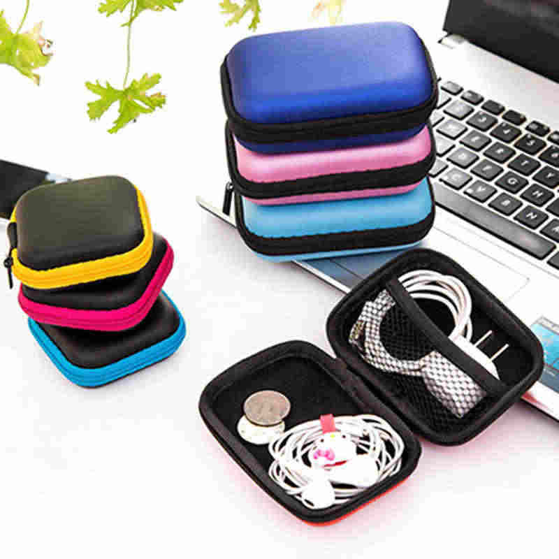 Urijk Earphone Wire Organizer Box Data Line Cables Storage Box Case Container Coin Headphone Protective Box Case Container