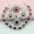 Red And White Stone Round Silver Color Jewelry Sets Pretty Crystal For Women Collier Bracelet Necklace/Earrings Free Gift Box