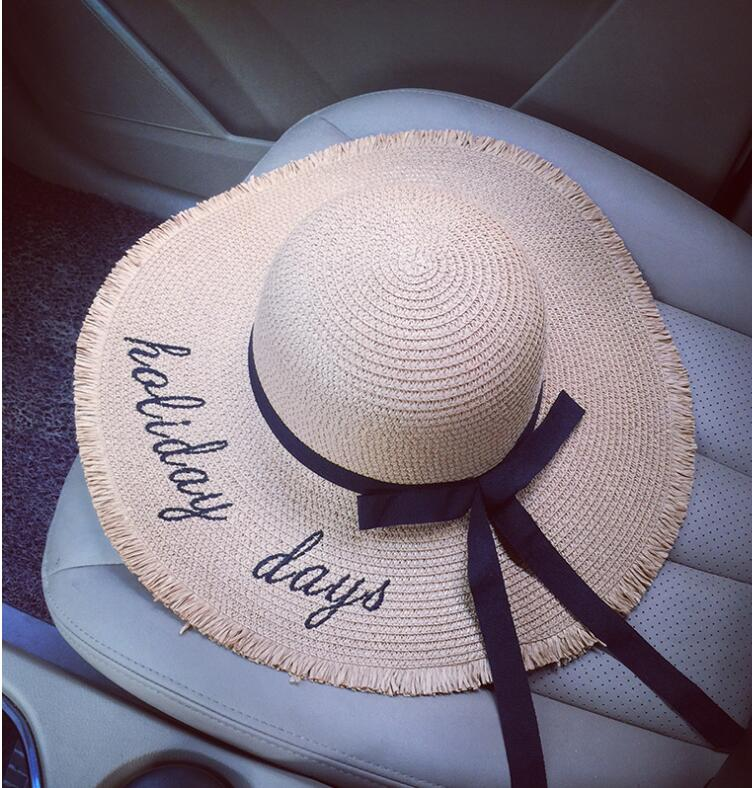 5f9124993efd6 2018 Personalized Letter Embroidery Hello Sunshine Fringed beach hat summer straw  hat for women Honeymoon Nautical floppy hat-in Sun Hats from Apparel ...