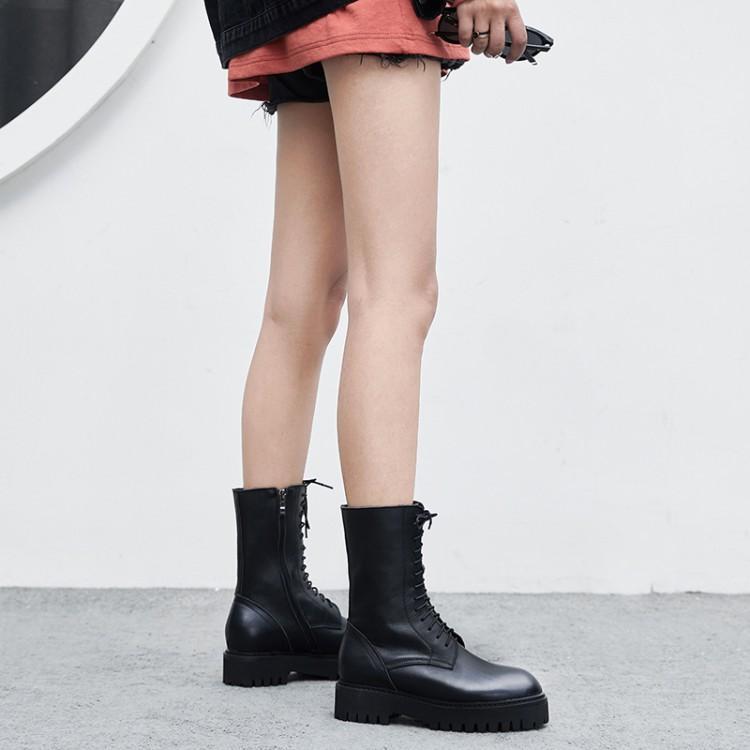 Rodilla Del Un Goma Mujeres Invierno Mujer De Cruz Negro Redondo Plana Dedo Lujo Cuero La Zapatos Cinturón Botas Hebilla Atado Hasta Talón Pie WxRz8q