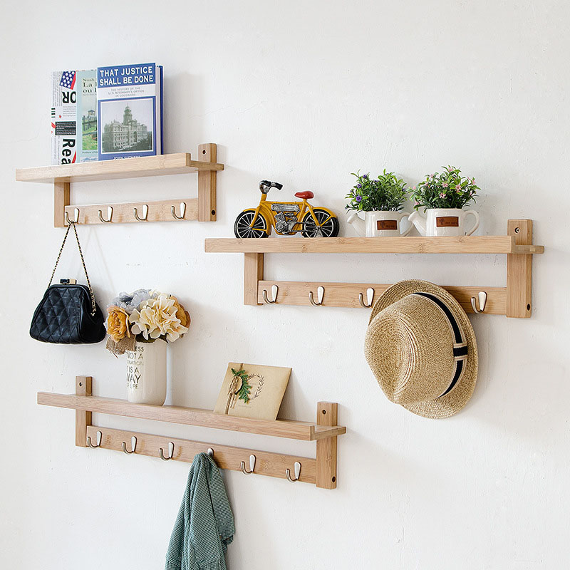 Actionclub Bamboo Wall Storage Racks DIY Wooden Storage Shelf With Hooks Creative Home Decor Wall Clothes Hanging Shelf 1 PC