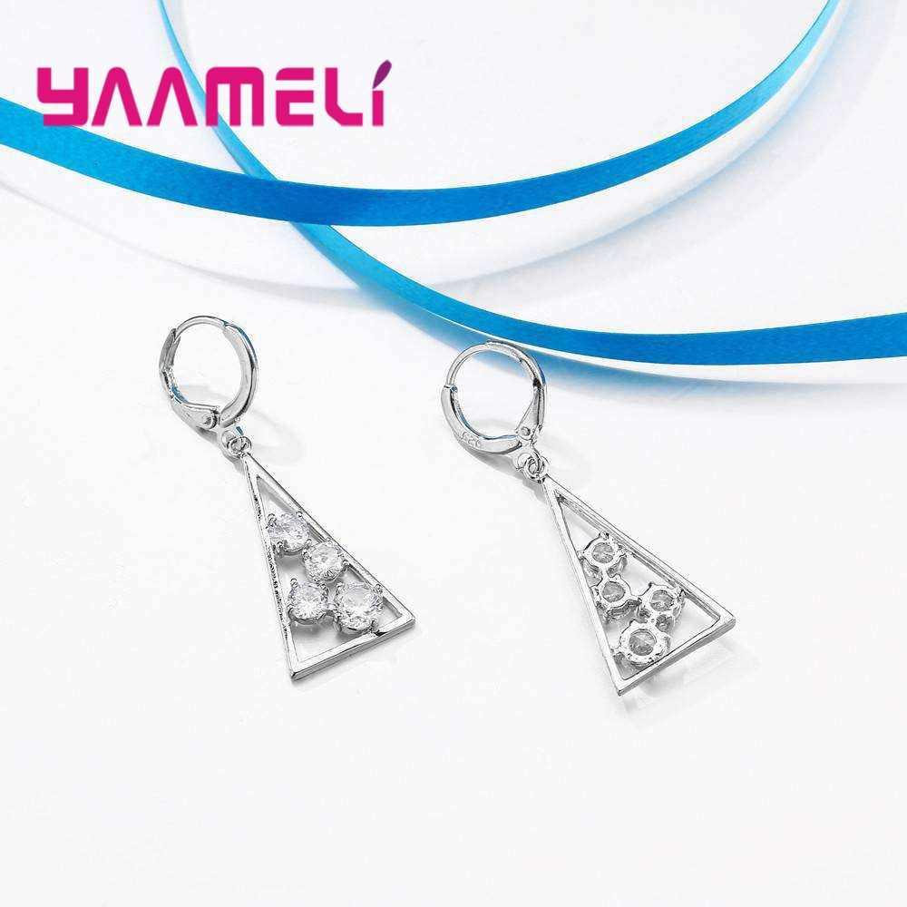 YAAMEL חדש הגעה הולו משולש נשים נשי מסיבת תכשיטי 925 סטרלינג כסף שרשרת עגילי סט ברור מעוקב Zirconia