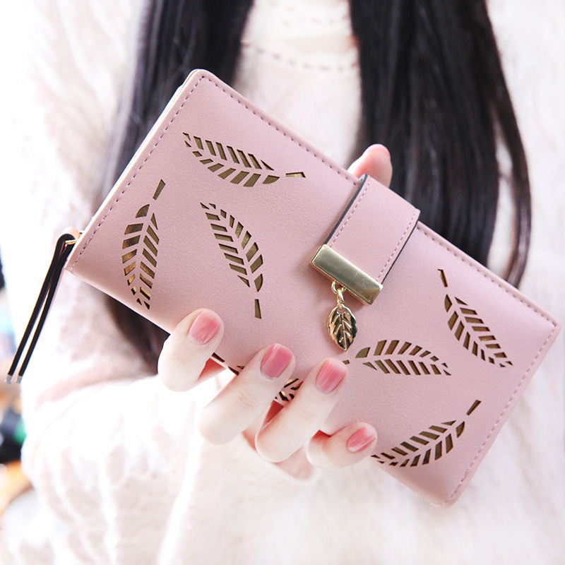 New Korean Style Ladies Long Wallets money clip Fashion Standard Purse PU Leather Leaves Hollow Out Money Small Zipper Bags