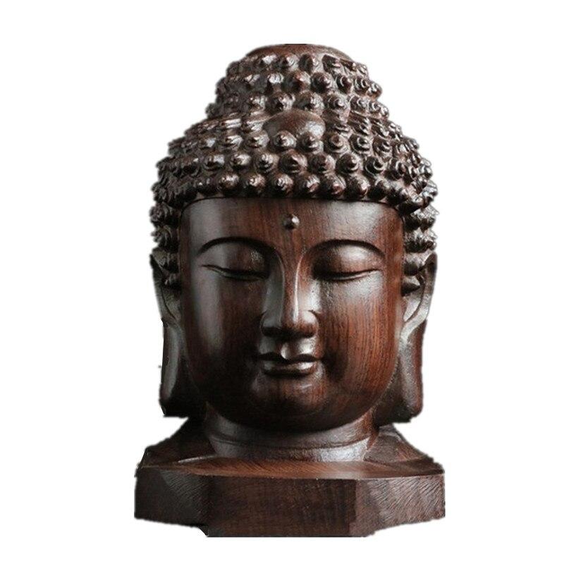 Ev ve Bahçe'ten Statü ve Heykelleri'de Ahşap Asya Çin Buda Budist Budizm Kafa Heykeli Zanaat Ev Dekor Hediye Meditasyon Barış Iyi Şanslar R229