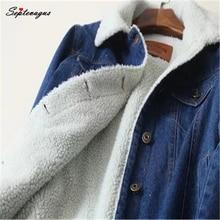 Winter Warm Fur Jeans Jacket Women Bomber Jacket Blue Denim Jacket Coat with Full Warm Lining & Front Button Flat Pockets stone wash denim jacket with pockets