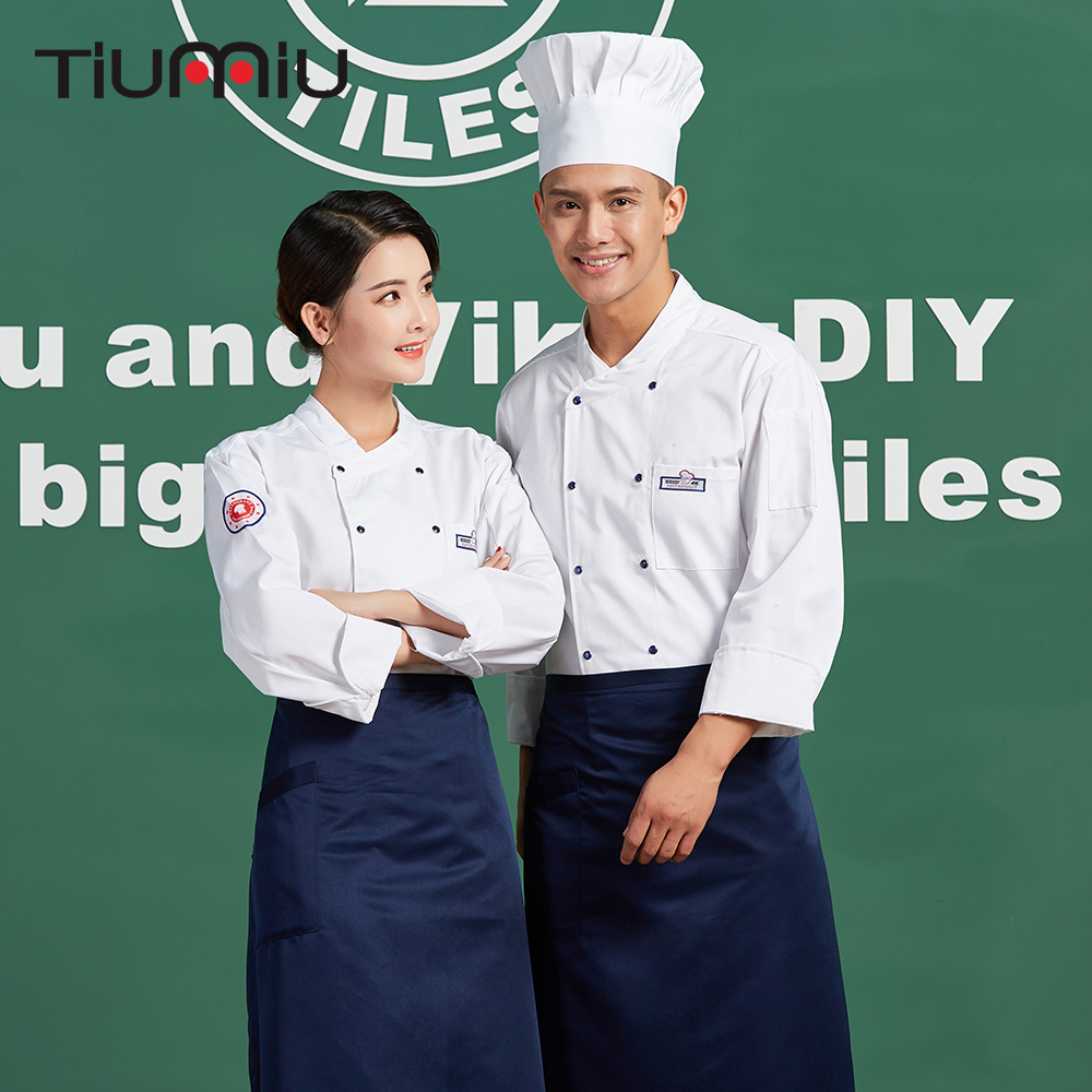 White Overalls Double-breasted Unisex Restaurant Cuisine Chef Kitchen Cooking Chef Jackets Coffee Shop Bakery Waiter Uniforms