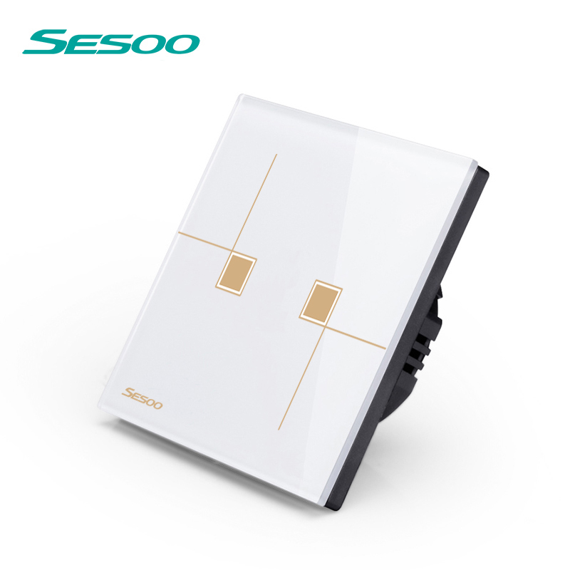 SESOO Remote Control Switch 2 Gang 1 Way, SY6-02 White, Crystal Glass Switch Panel,Remote Wall Touch Switch 2017 free shipping smart wall switch crystal glass panel switch us 2 gang remote control touch switch wall light switch for led
