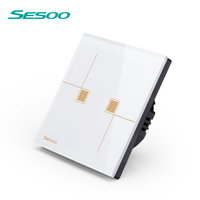 SESOO Remote Control Switch 2 Gang 1 Way Waterproof Tempered Glass Panel Touch Switch Wireless Remote Light Switch No Controller