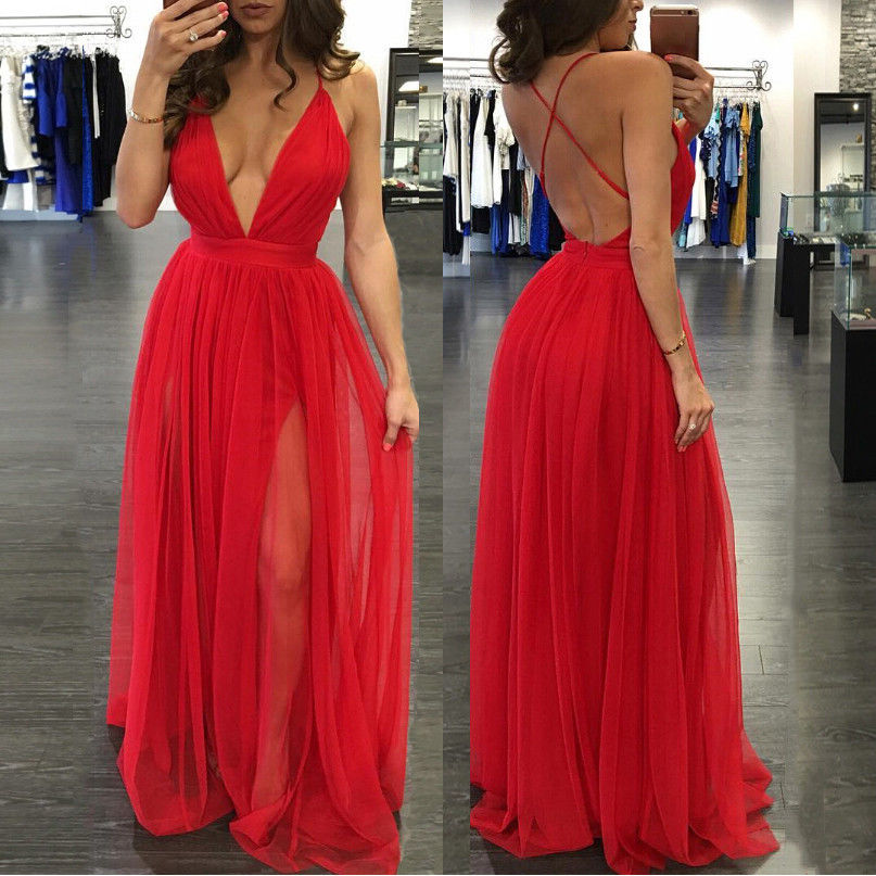 Sexy V Neck Women Evening Party Dress Sleeveless Formal Prom Gown Dresses Women Red Clothing Dress