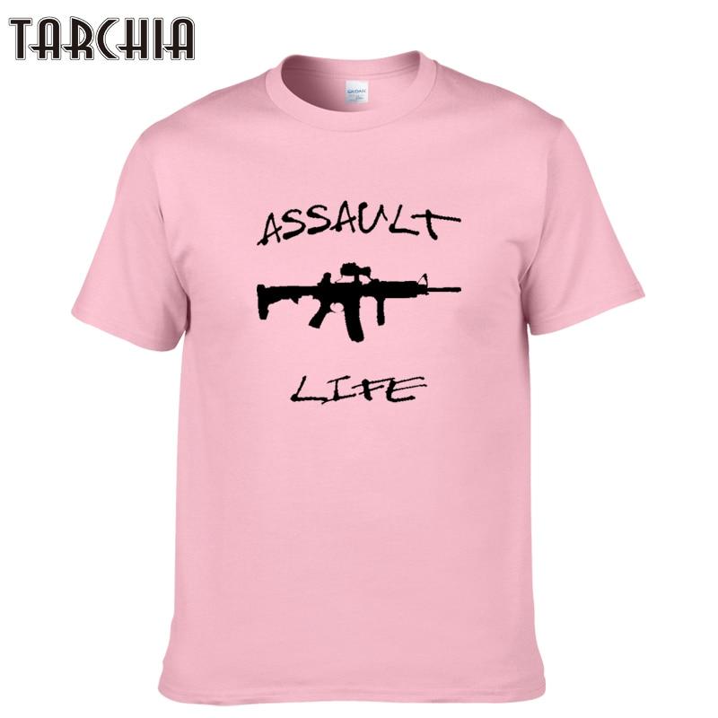TARCHIA 2018 New fashion arrive brand t-shirt assault life cotton tops tees men short sleeve boy casual homme tshirt t plus