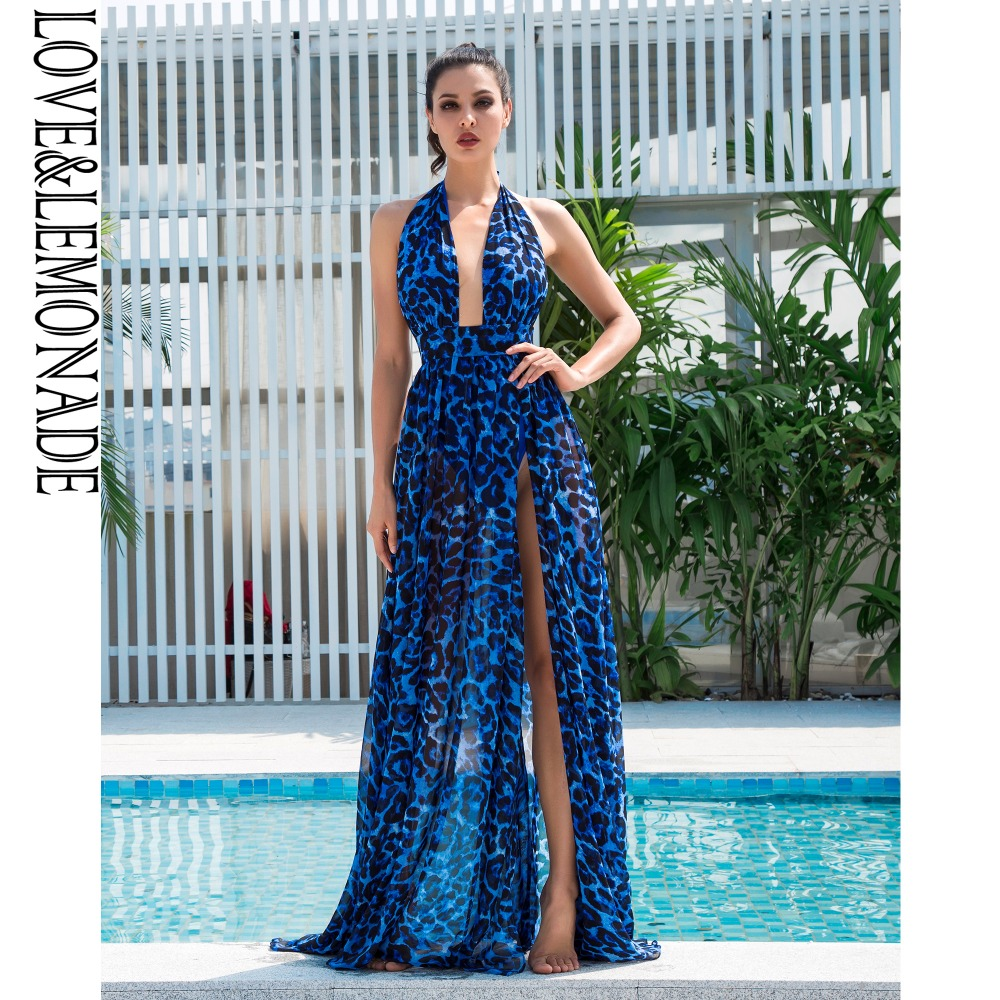 ... LoveLemonade Sexy Blue V-Neck Open Back Cut Out Leopard Chiffon Long  Dress LM1408 check ... 37b2bdafa6d9