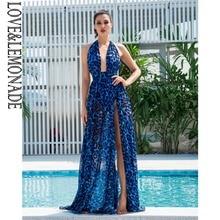 LOVE&LEMONADE Sexy Blue V Neck Open Back Cut Out Leopard Chiffon Long Dress  LM81049