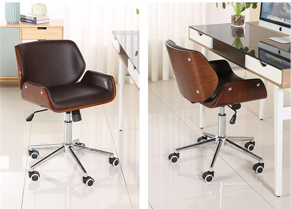 5x Lounge Chair : Mid back bentwood swivel office computer chair pu leather office