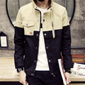 New 2016 spring color block casual jacket men single breast short men jacket veste homme men's clothing size m-3xl 3-colors/JK23