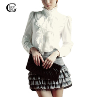 Fashion 2015 Autumn Stand Collar Long Sleeve Women ShirtS OL Office Formal Elegant Ruffles Chiffon Blouse