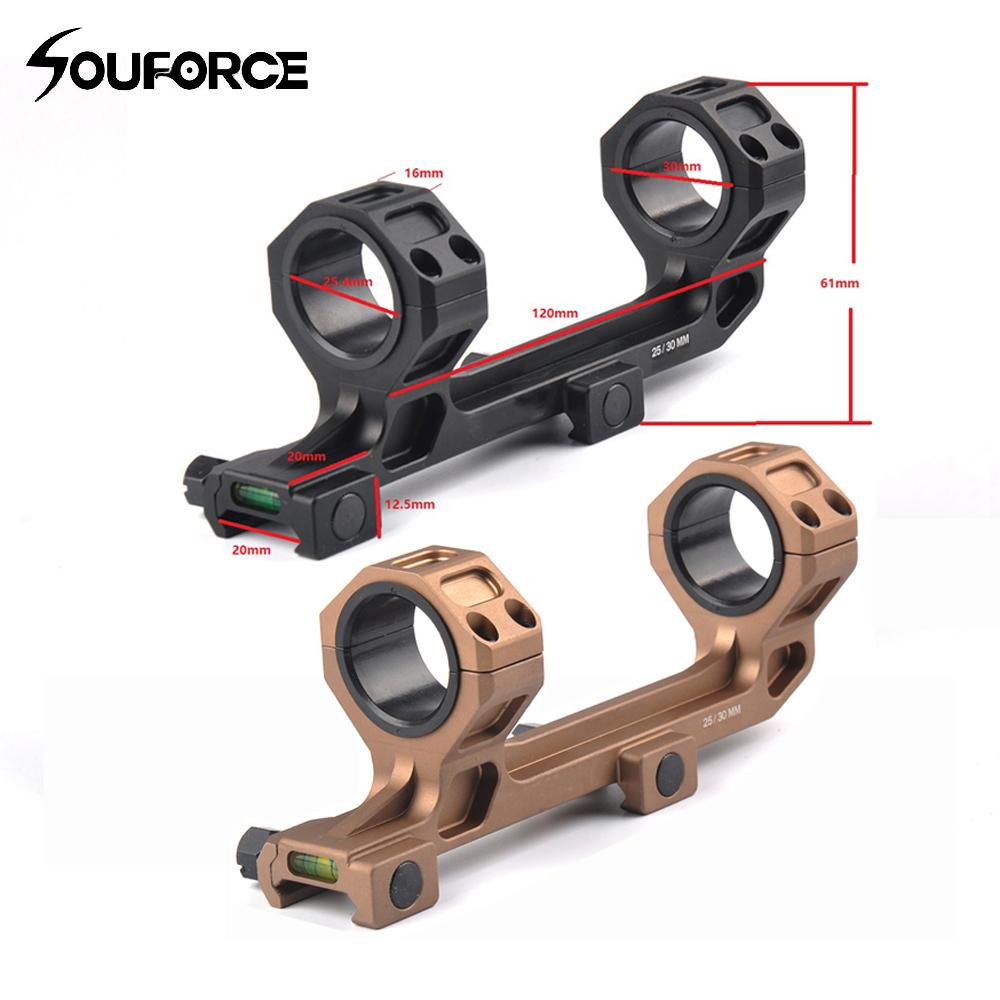 Rifle Optic Scope Mount 25.4mm/30mm Rings Mount with Bubble Level fit 20mm Picatinny Rail for Tactical Gun AR15 Hunting