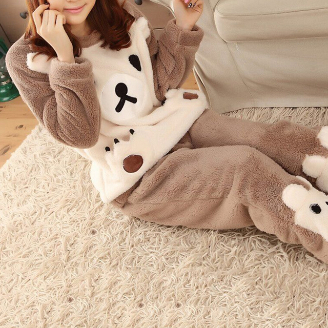 1Set Spring Winter Anti Cold Keep Warm Women Coral Fleece Pajamas Set Of Sleepcoat Bottoms Lady Home Clothing Thermal Flannel
