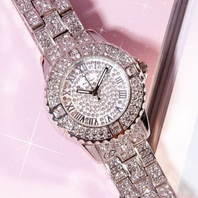 1ee8a5fdf New style Luxury Ladies Bracelet watch Stainless Steel Back Hot Women  Rhinestone wristwatches Analog Crystal Dial Quartz Watch