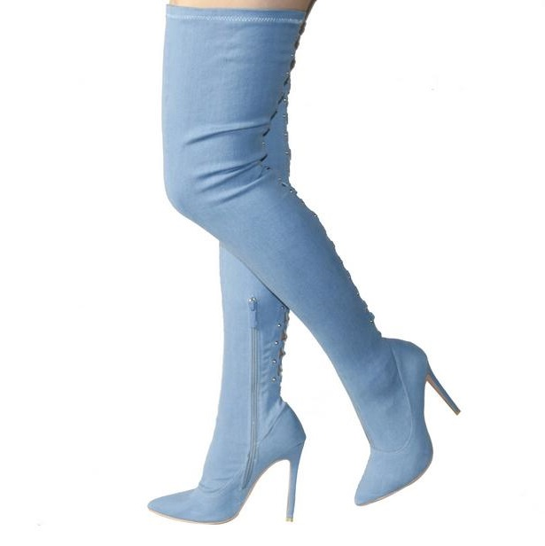 Sexy 2018 Womens Thigh High Boots Pointed Toe Blue Denim Jeans Women Over Knee High Boots Cut-out Lace-up Zipper Sock Boots new sexy heels punk style lace up stiletto thigh high boots women sexy pointed toe cut out over the knee gladiator boots