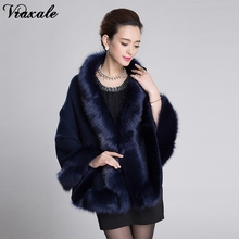 2017 new winter sweater cape coat bat sleeve fake fox fur collar temperament elegant ladies(China)